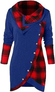 Women's Sweatshirt, FORUU Fashion Turn-Down Collar Button Plaid Patchwork Top Blouse