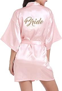 WPFING Bridal Bridesmaid Robes for Bride Kimono Wedding Party Getting Ready Gold Glitter Silky Satin