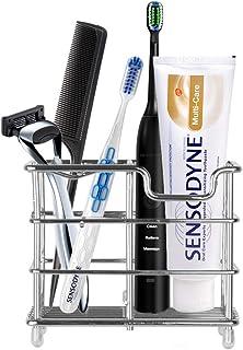 2 Packed Eathtek Toothbrush Toothpaste Holder Stand.Stainless Steel 5 Slots Bathroom Toothbrush Organizer.Multi-Functional...