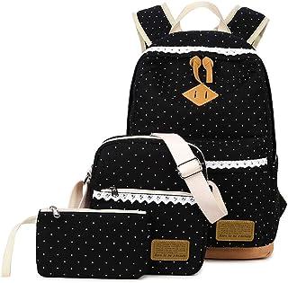 Juego de 3 bolsos para niña con mochila escolar, bolso de hombro, monedero, bolso de lona con lunares y puntas, perfecto para la escuela, viajes, ocio