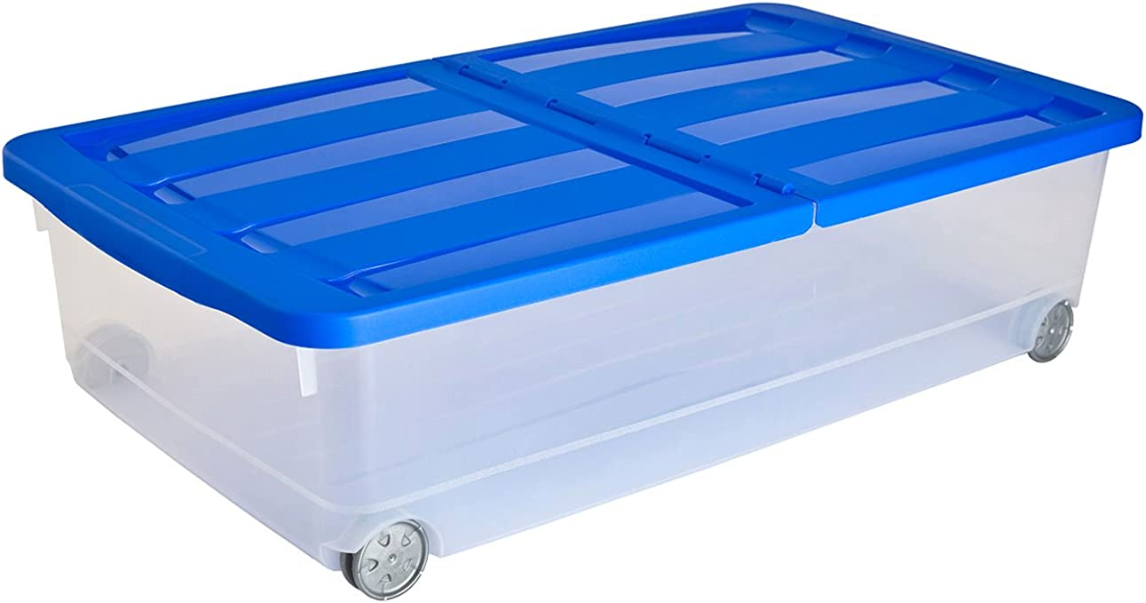 Curver - Caja Organizadora Bajocama 32L. con Tapa - Con Ruedas - Color Azul: Amazon.es: Hogar