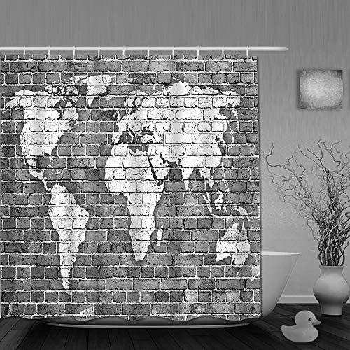 VICAFUCI Duschvorhang 180 * 180,Wand gemauerte graue Karte,Wasserabweisend Shower Curtain mit 12 Duschvorhangringen
