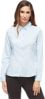 Step N Style Sky Blue Shirt Neck Shirts For Women