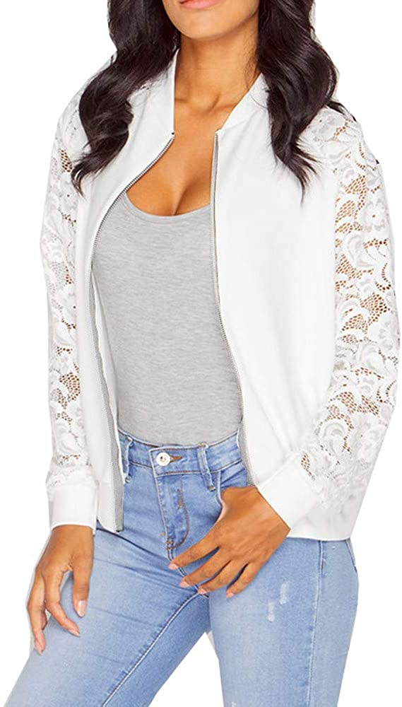 Kcocoo Women's Bomber Jacket Casual Coat Zip Up Outerwear Windbreaker Lace Floral Hollow Long Sleeve Quilted Raglan Coat