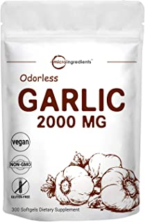 Maximum Strength Odorless Garlic Pills (Garlic Extract Supplements), 2000mg Per Serving, 300 Soft-gels, Pure and Potent Ga...
