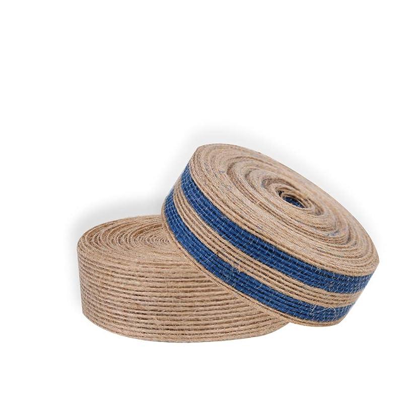 2-Pack Natural Jute Burlap Ribbon Wedding Floristry Cake Topper Decor Handcraft DIY Wrapper Tool Blue