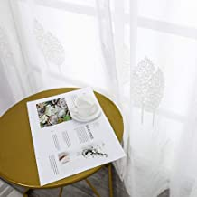 MRTREES White Sheer Curtains 84 inches Long Leaves Embroidered Sheer Curtain Panels Living Room Leaf Pattern Embroidery Sheers Bedroom Rod Pocket Window Treatment Set Drapes 2 Panels