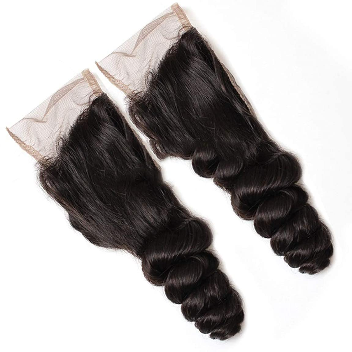 投資する正気塊YESONEEP ブラジルの髪4×4フルレース閉鎖9Aルースウェーブ人毛エクステンションナチュラルブラック8