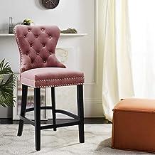 Adjustable 360/° Swivel Gas Lift Chrome Footrest and Base for Metal Base Bar Breakfast Bar Stool LEPAK Velvet Bar Chairs with Backrest and Footrest Grey