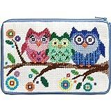 Stitch and Zip Cosmetic Purse Needlepoint Kit SZ 604 Owls