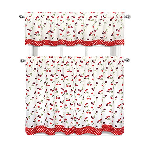 Regal Home Collections Complete 3 Pc. Kitchen Curtain Tier &, Valance Set, Cherries & Polka Dots
