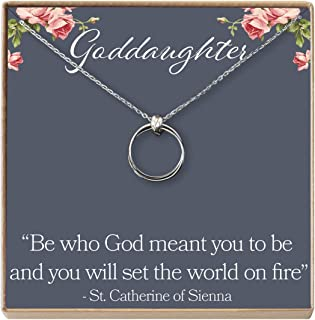 Dear Ava Goddaughter Gift Necklace: Godmother-Goddaughter, Goddaughter Baptism Communion, 2 Linked Circles