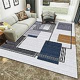 habitación Dormitorio Lavables Comedor,Dormitorio Exquisito Puntada Rectangular línea Negra Limpieza de impresión Limpieza Alfombra-120x160cm
