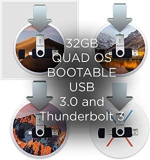 macOS Quad Installer - Mojave (macOS 14), HIGH Sierra (macOS 13), Sierra (macOS 12) and OS EL Capitan (Mac OS X 11) Quad Bootable USB 3.0 / Thunderbolt 3 Flash Drive