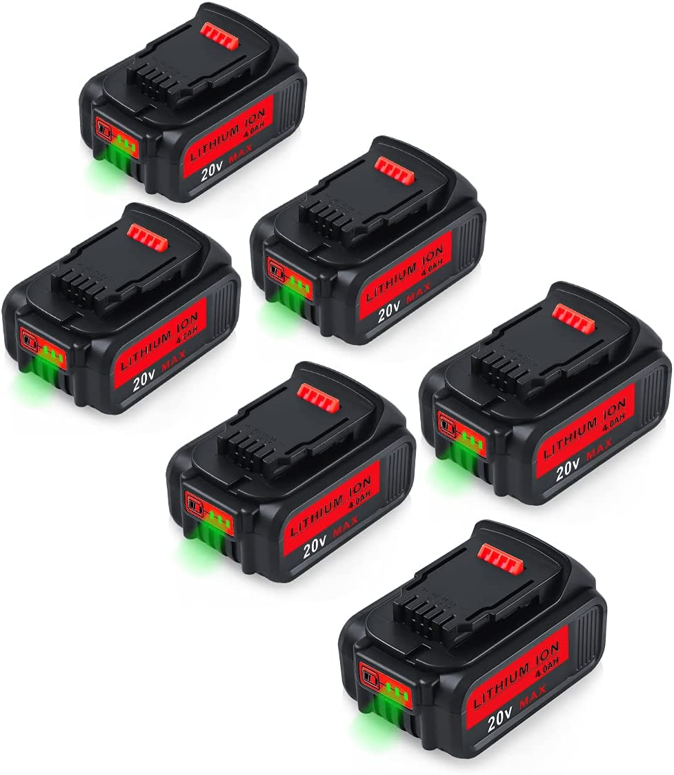 6Packs Max 82% OFF 20V 4000mAh DCB205 Replacement Max 87% OFF Dewalt Battery for