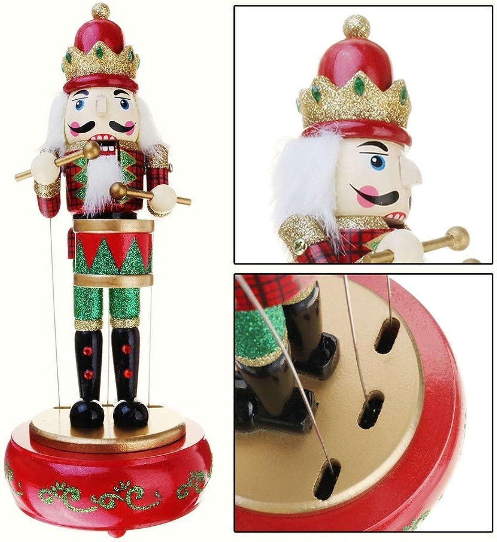 ZHAS Music Box Nutcracker Drummer Retro Musical Box Round Musical Birthday Gift Box Vintage Decoration Wooden Accessories as a Gift