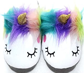 Magic Girl's Small Plush Unicorn Slippers Soft Sole Adorable Sleepy Anti-Skid Girls House Home Loafers Age 3-6 White