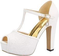UH Mujer Sandalias de Tacon con Brillantes Plataforma Peep Toe Tacon Ancho Correa de Tobillo Boda Zapatos