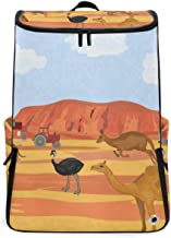 Australia Kangaroo Ostrich Gym Backpack with Shoe Compartment Travel Bag Casual Vintage Daypacks