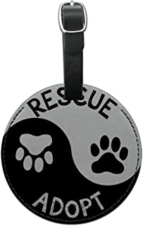 Graphics & More Rescue Adopt Yin Yang Paw Prints Dogs Cats Round Leather Luggage Id Tag Suitcase, Black