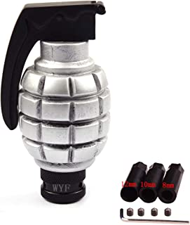 WYF Universal Shift Knob Grenade Style Gear Stick Shifter Knob for Most Manual or Automatic Gear Without Button (Silver)