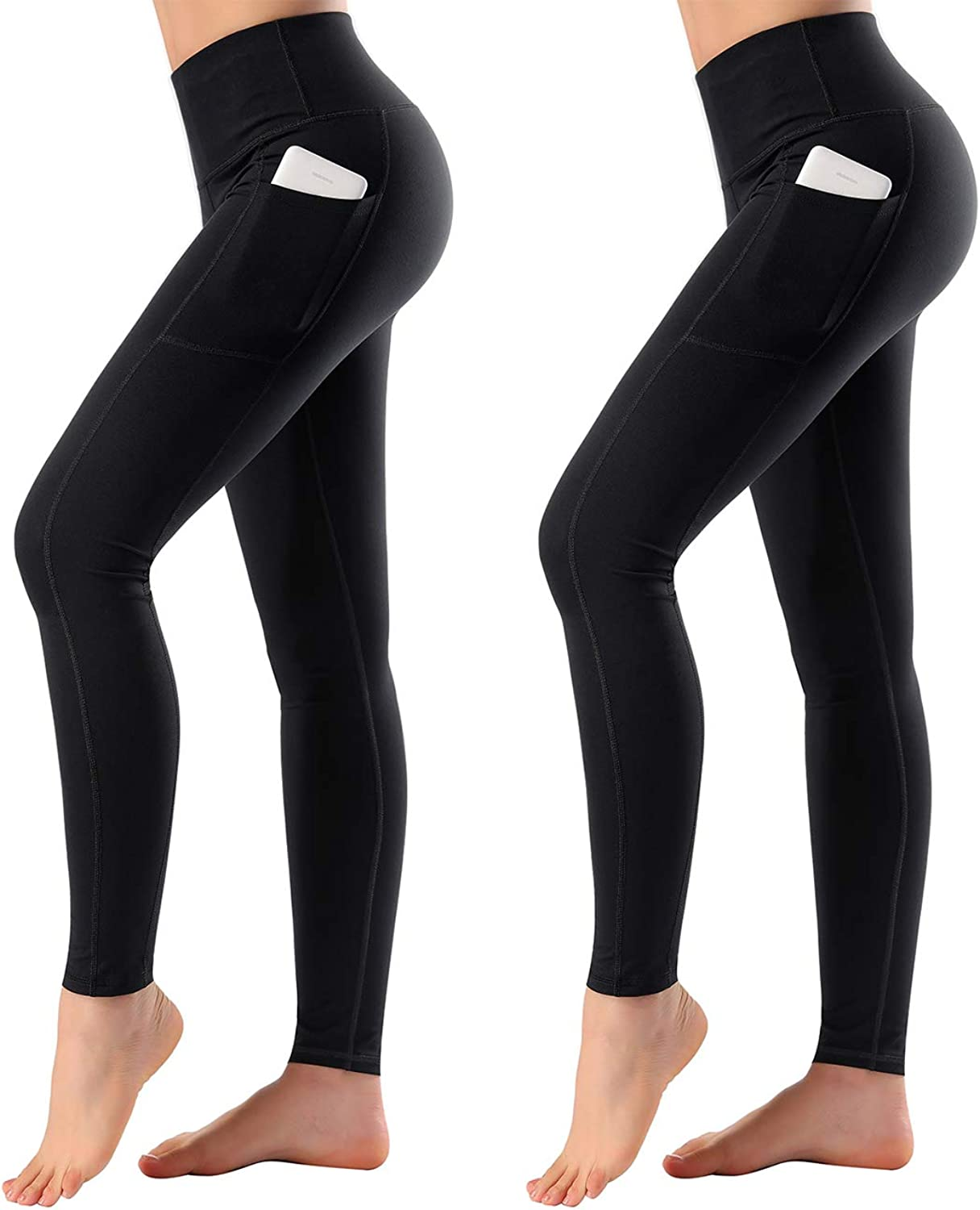 High Waist Yoga Pants with Side Pockets & Inner Pocket Sports Leggings Two Packs