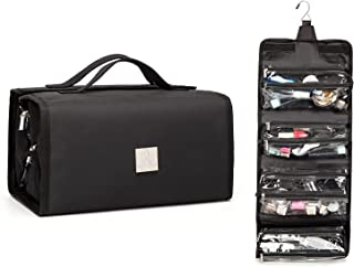 ROYALFAIR Waterproof Toiletry Bag 4-in-1 Roll-Up Make Up Organizer and Travel Bag for Women and Men - 4 Removable Carry On PVC Pouches Cosmetic Bags (Black)