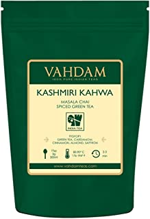 VAHDAM, ​Kashmiri Kahwa Tea Loose Leaf (50 Cups) | 100% NATURAL SPICES | Masala Chai Tea | Green Tea, Cinnamon, Cardamom, Almond, Saffron | Spiced Chai Tea Loose Leaf | Brew Hot or Iced Tea | 3.53oz