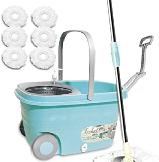 Sponsored Ad - Spin Mop Floor Cleaning Supplies - Favbal Mop and Bucket with Wringer Set with 6 Replacement Refills,61