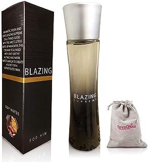 Blazing Supreme Eau De Parfum For Men With Luxurious Suede NovoGlow Pouch - 3.4 oz - Perfect Gift for Men