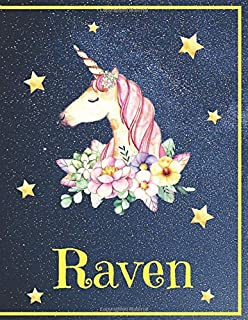Raven: Personalized Unicorn Sketchbook For Girls & Women With Golden Name - 8.5 x 11 Inches, 110 Blank Pages with design. ...