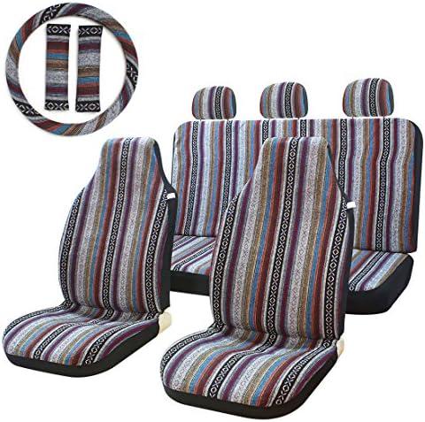 10pc Stripe Multi-Color Seat Cover Baja Saddle...
