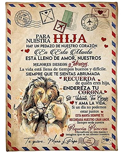 Mantas para Sofás De Franela Carta De Mensaje Bendición para Personalizado Manta de Lana Hijo/Hija Regalos de cumpleaños Navidad Español Mensajes
