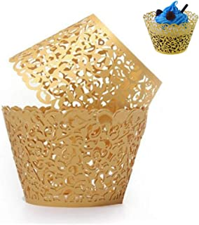 WSERE 60 Pieces Gold Cupcake Wrappers, Lace Liner Muffin Paper Cake Wraps Decorations, Safety Health for Wedding Party Birthday Decor