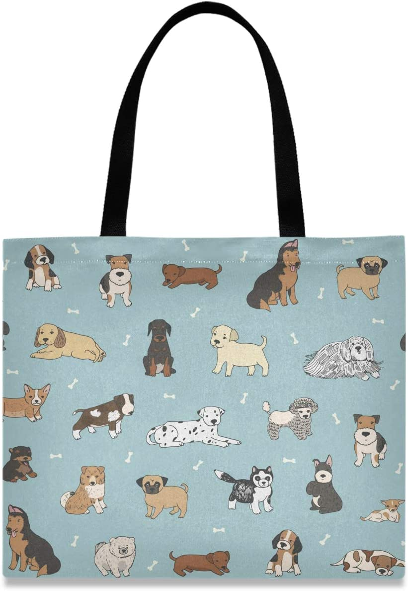 visesunny OFFicial mail order Women's Large Deluxe Canvas Tote Ani Bag Cartoon Shoulder Dog