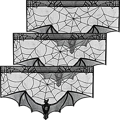 Tatuo 3 Pieces Halloween Black Lace Cobweb Mantle Scarf Spiderweb Fireplace Valances Cover Halloween Windows Decorations Party Decorations for Halloween Party Supplies from Tatuo