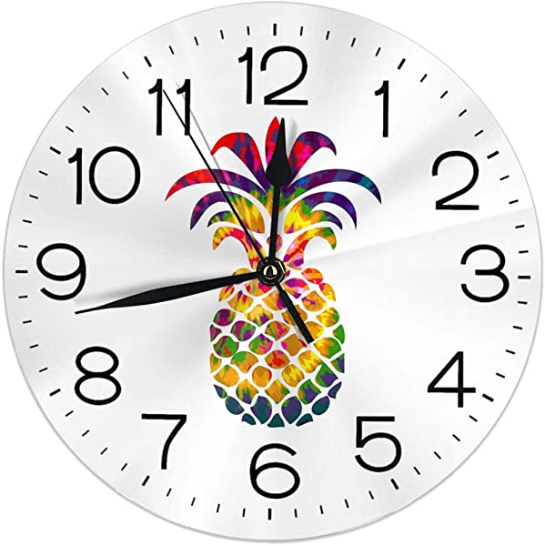 Wall Clock Silent Non Ticking Round Wall Clocks Rainbow Tie Dye Pineapple Clocks 10 Inch Battery Operated Quartz Analog Quiet Desk Clock For Home Office School