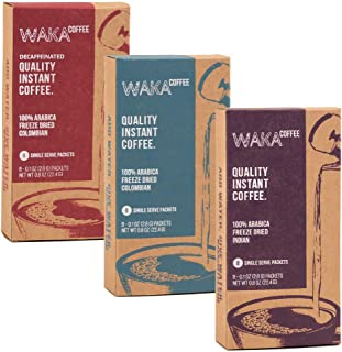 Waka Coffee Quality Instant Coffee, Single-Serve Instant Coffee Variety Bundle | 100% Arabica, Freeze Dried, 3 Box Value Package | We Bring The Instant Back