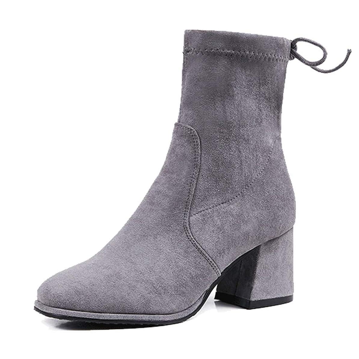 軽減する質量ペンスソックスブーツ レディースブーツ ショートブーツ 太めヒール ハイヒール バックリボン ブーツ ショートブーツ メッシュ スエード 柔らかい 調節可能 秋 冬 蒸れにくい 軽量 歩きやすい