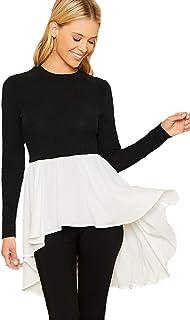 SheIn Women's Round Neck Long Sleeve Knit Chiffon Asymmetrical Ruffle Blouse Top