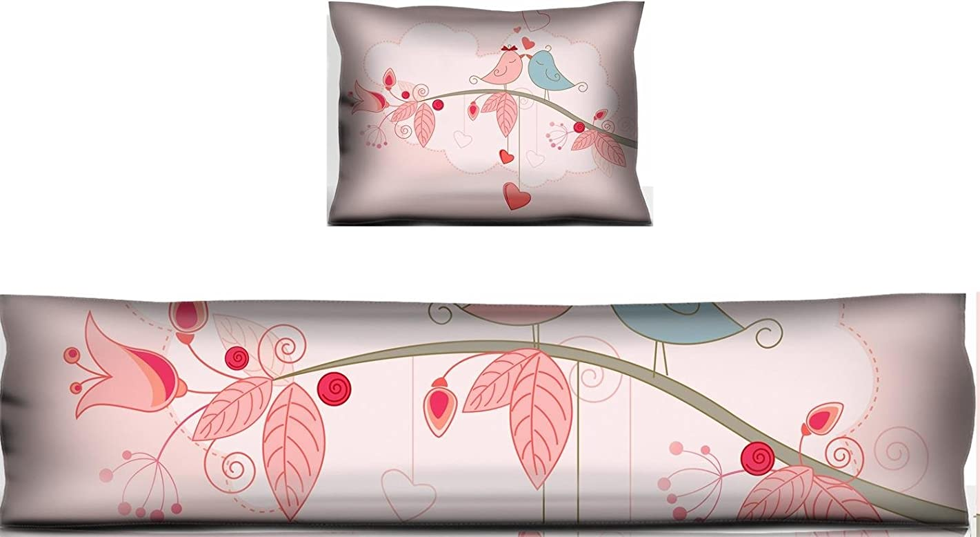 Liili Mouse Wrist Rest and Keyboard Pad Set, 2pc Wrist Support Valentine s Day greeting card with kissing birds IMAGE ID 8615040