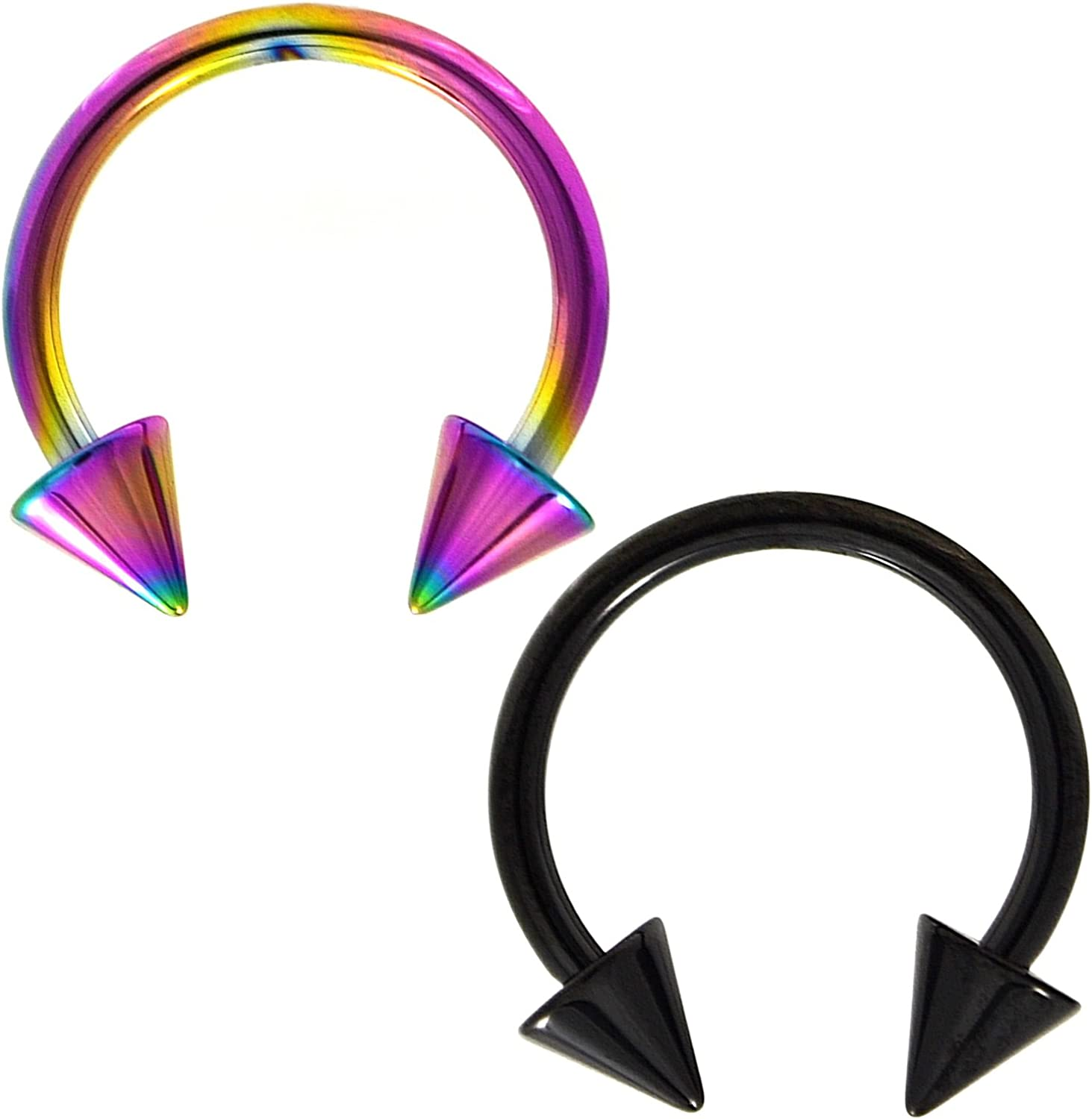 Two-Color Set Rainbow and Black Titanium IP Steel Circular Barbells Horseshoe Rings with Spike Ends