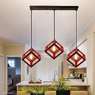 Lustre Industriel Suspension Rétro, Luminaire Plafonnier Vintage Cage Abat-Jour E27 3-Lumière Décoration, Rouge