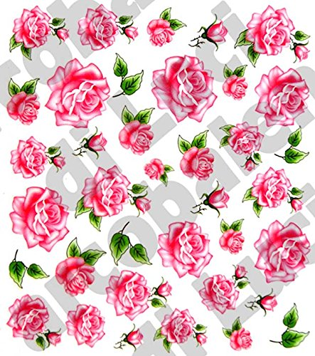 AWS Set Water Decals Fleurs Papillons Roses Rose Primrose notice ongles Nail Art Stickers transfert à eau Sheet of Flower Flowers Butterfly Stickers transfert Autocollants peau en vinyle Reconstruction Fashion fantaisie Fantasy Pink Roses
