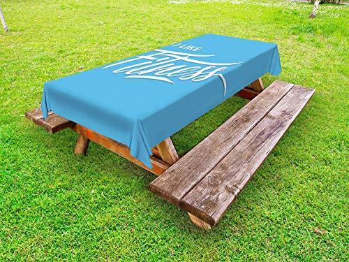 ABAKUHAUS geschiktheid Tafelkleed voor Buitengebruik, I Like Fitness Woorden, Decoratief Wasbaar Tafelkleed voor Picknicktafel, 58 x 104 cm, Pale Blue White