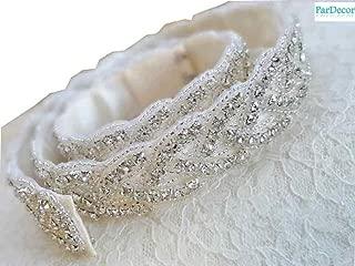 ParDecor Bridal Sash Belt Crystal Rhinestone Trim by The Yard Wholesale Bridal Trim Rhinestone Banding Crystal Trim Metal Rhinestone Applique Cupchain