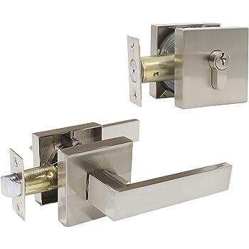 Manija de palanca de Puerta Placa De Largo C a C 72mm Negro clave forma