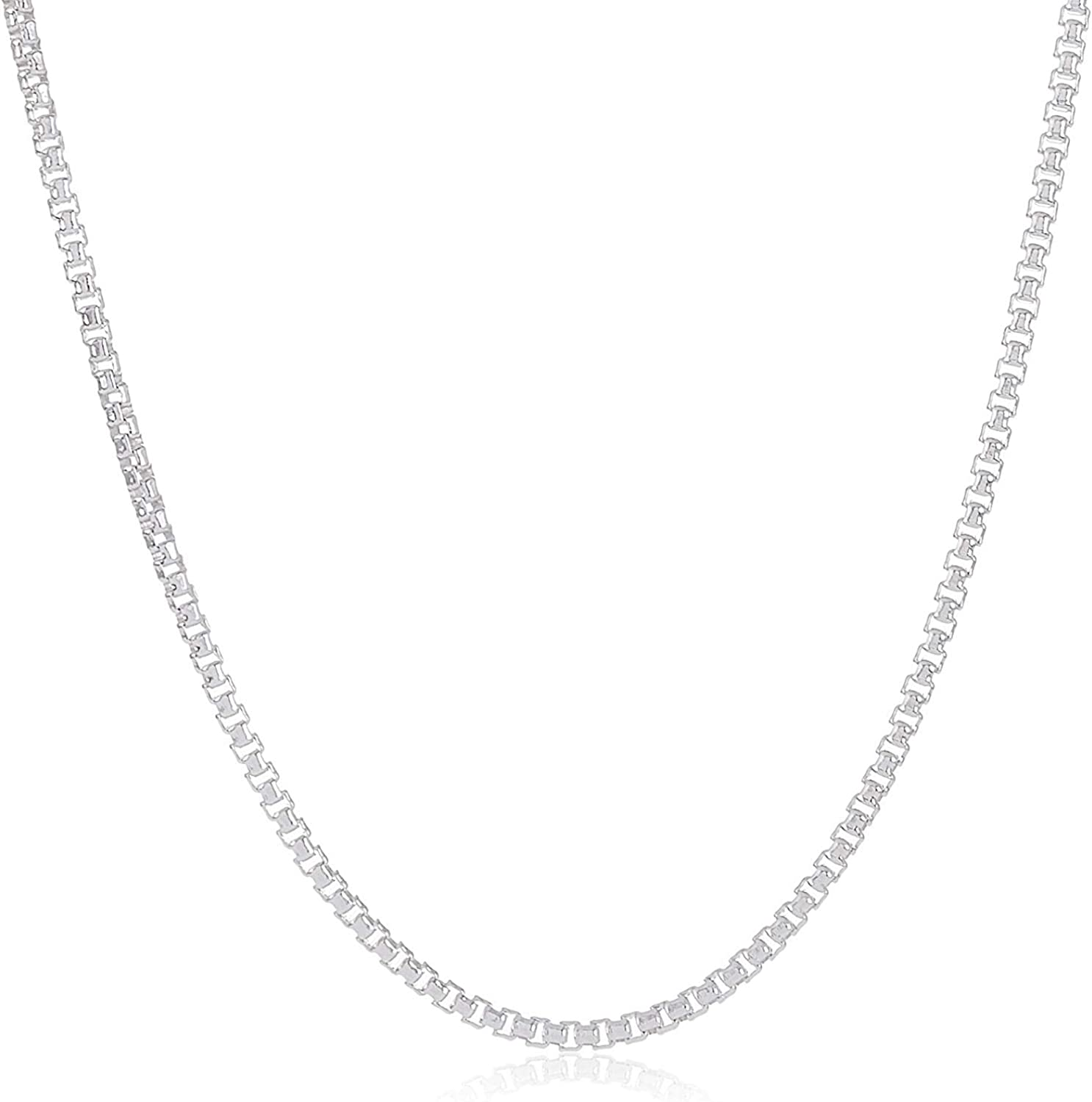 Authentic プレゼント Solid Sterling Silver Box Chain Th 3MM 1MM - Necklace キャンペーンもお見逃しなく