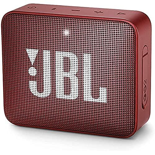 JBL GO 2 Speaker Bluetooth Portatile – Cassa Altoparlante Bluetooth Waterproof IPX7 – Con Microfono, Funzione di Noise Cancelling, Fino a 5h di Autonomia, Rosso