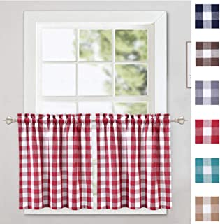 red buffalo check kitchen curtains